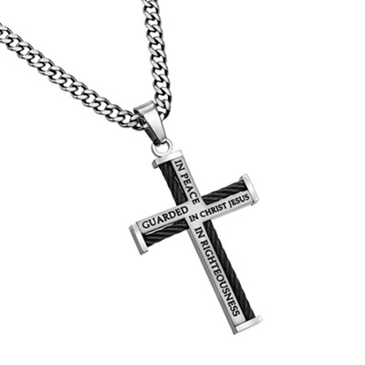 Guarded Cable Cross Necklace  -