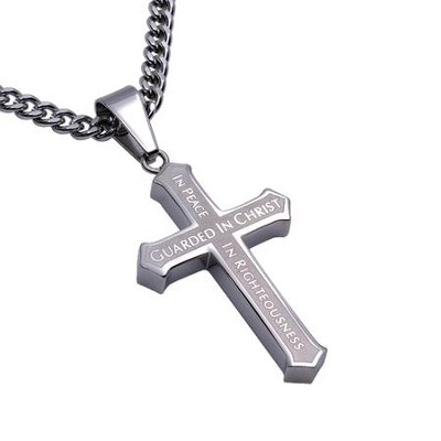 Guarded Inlay Cross Necklace  -