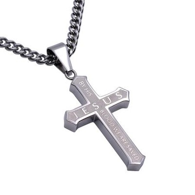 By His Blood Inlay Cross Necklace  -