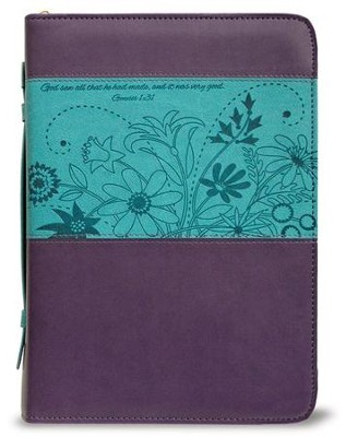 God Saw All That He Had Made Bible Cover, Purple and Teal, Medium  -