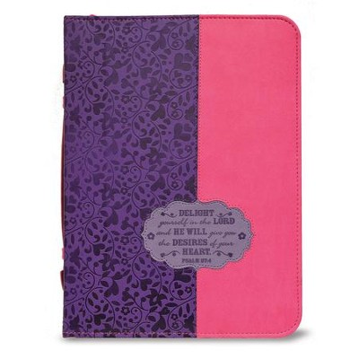 Delight Yourself in the Lord Bible Cover, Purple and Pink, Medium  -