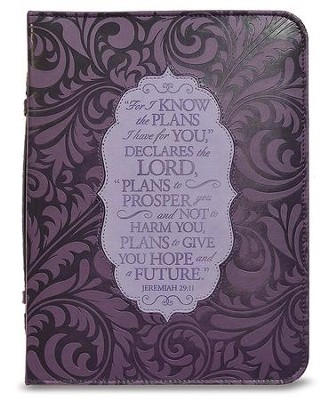 For I Know the Plans I Have For You Bible Cover, Purple, Large  -