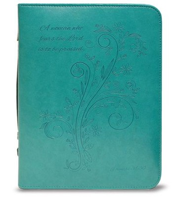 A Woman Who Fears the Lord is To Be Praised Bible Cover, Teal, Medium  -