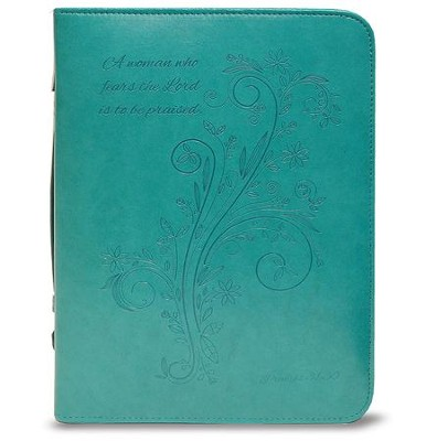 A Woman Who Fears the Lord is To Be Praised Bible Cover, Teal, X-Large  -