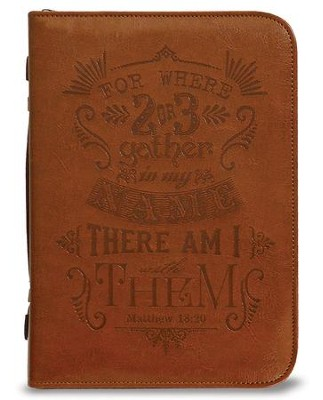 Matthew 18:20 Bible Cover, Brown, Large  -