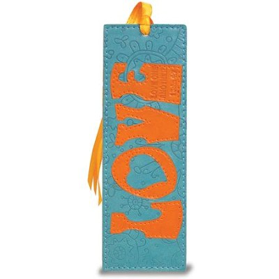 Love Bookmark, Teal and Orange  -