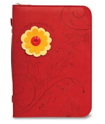 Floral Bible Cover, Red with Yellow and Orange Flower, Large  -