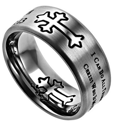 His Strength, Neo Cross Scripture Ring, Silver, Size 8   -