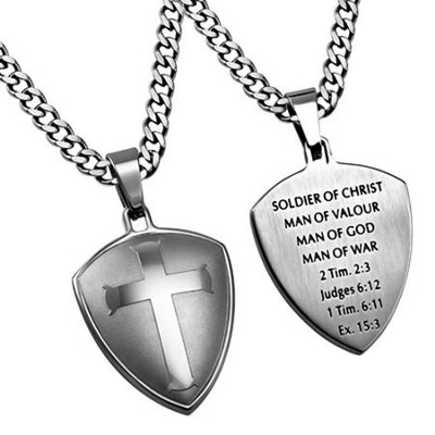 Man of War Shield Cross Necklace, Silver  -