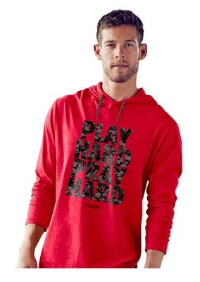 Play Hard Pray Hard, Hooded Long Sleeve Shirt, Red, Large  -