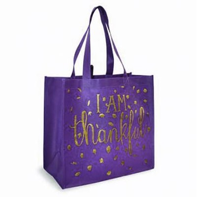 I Am Thankful, Eco Tote, Purple  -