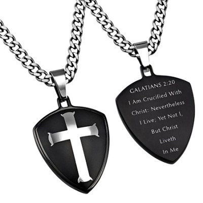Crucified Shield Cross Necklace, Black  -