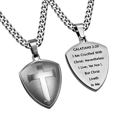 Crucified Shield Cross Necklace, Silver  -