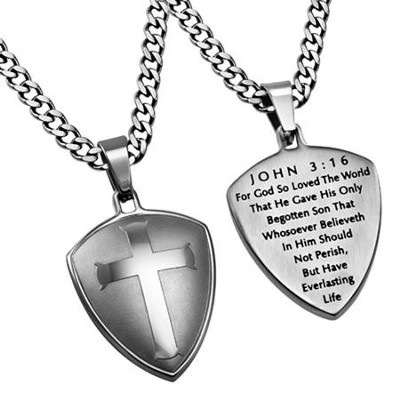 John 3:16 Shield Cross Necklace, Silver   -