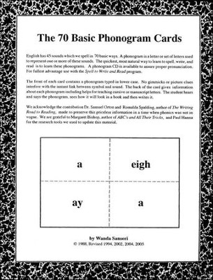 70 Basic Phonogram Cards   -     By: Wanda Sanseri