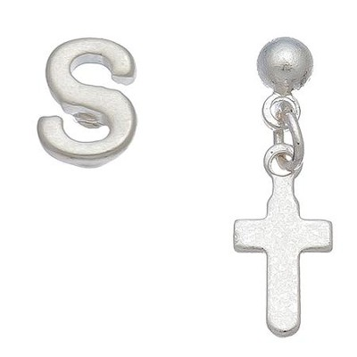 Initial & Cross Stud Earring Set Set, S  -