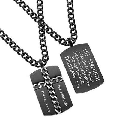 Christ My Strength Chain Cross Necklace, Black  -