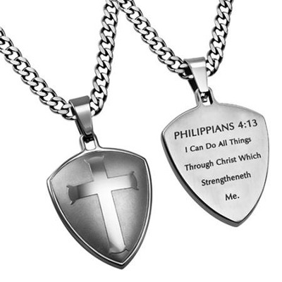 Christ My Strength Shield Cross Necklace, Silver  -
