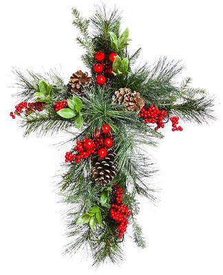 Holly and Pinecone Floral Wall Cross  -