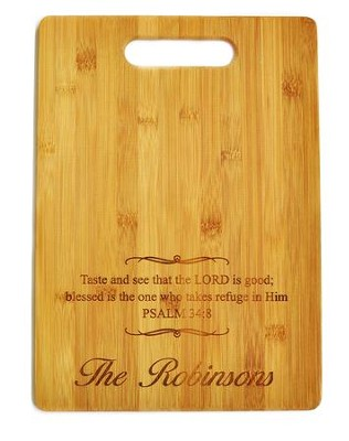 Personalized, Bamboo Cutting Board, With Cut Out Handle Taste and See  -