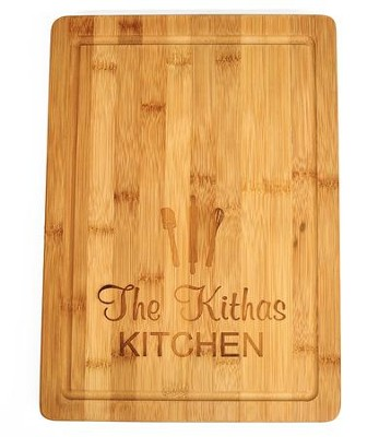 Personalized, Bamboo Cutting Board, with Utensils,Large   -
