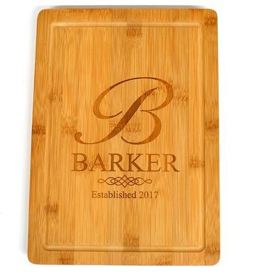 Personalized, Bamboo Cutting Board, Monogram, Large   -