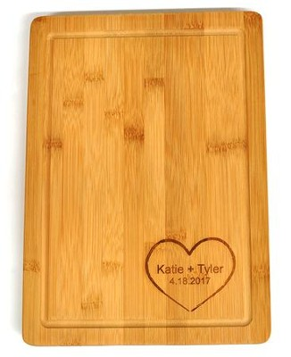 Personalized, Bamboo Cutting Board, with Heart, Large   -
