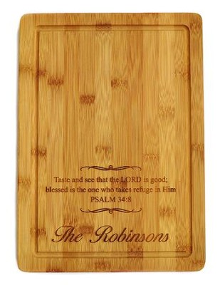 Personalized, Bamboo Cutting Board, Large, Taste and  See  -