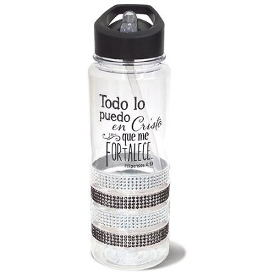 Todo Lo Puedo en Cristo Que Me Fortalece (I Can Do All This Through Him Who Gives Me Strength) Gem Water Bottle, Black  -
