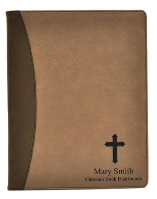 Personalized, Leather Padfolio, with Cross, Tan   -