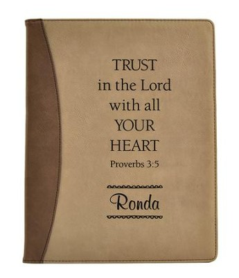 Personalized, Padfolio, Leather, Trust in The Lord,   Brown and Tan  -