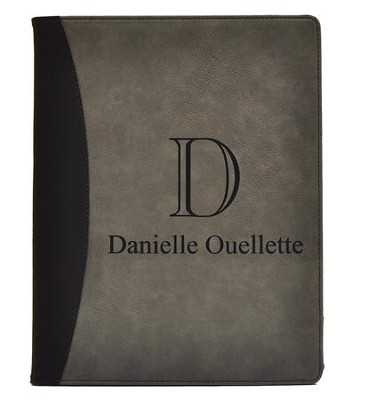 Personalized, Leather Padfolio with Monogram, Gray   -