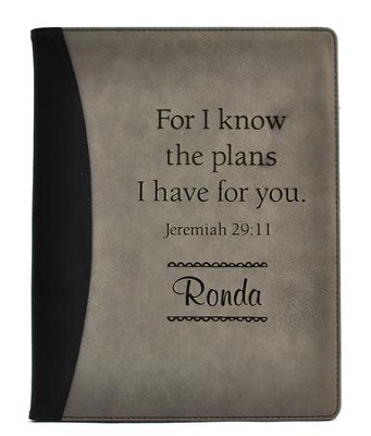 Personalized, Leather Padfolio, For I Know The Plans, Black and Grey  -