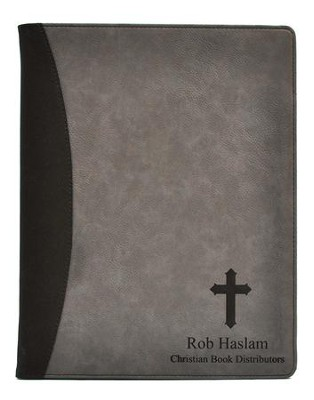 Personalized, Leather Padfolio, with Cross, Grey   -