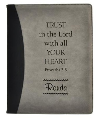 Personalized, Padfolio, Leather, Trust in the Lord, Black and Grey  -