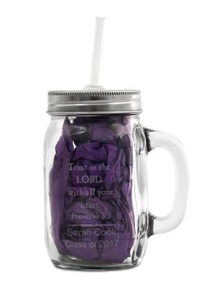 Personalized, Mason Jar with Handle and Straw, 15 oz,  Trust in the Lord  -