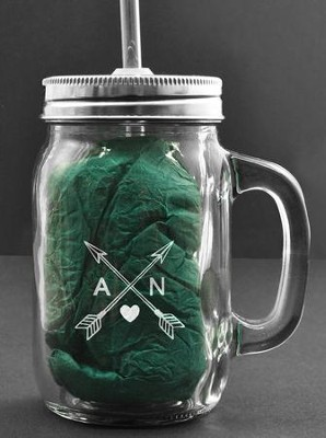 Personalized, Mason Jar, with Handle and Straw, 15   Ounces, with Arrows  -