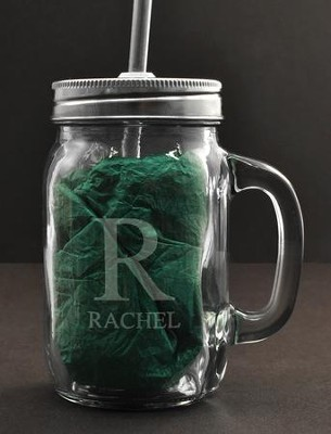 personalized mason jar with handle and straw 15 ounces monogram