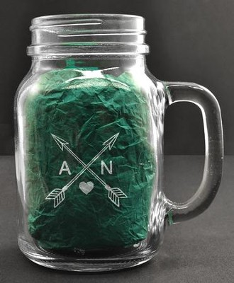 Personalized, Mason Jar, with Handle, 22 Ounces, with Arrows  -