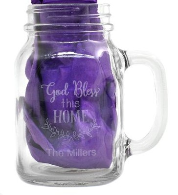 Personalized, Mason Jar, with Handle 22 Ounces God Bless This Home  -