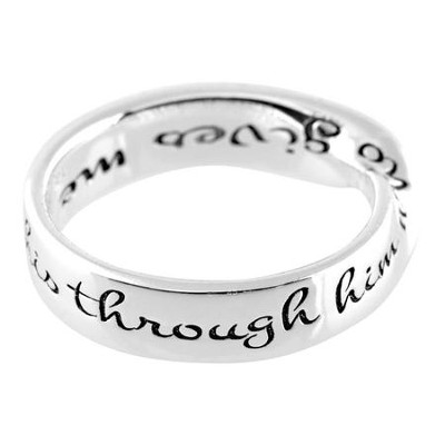 I Can Do All This Mobius Ring, Silver, Size 6   -