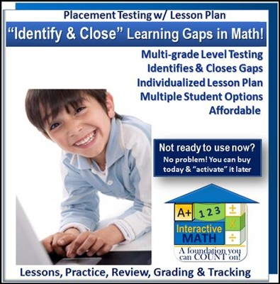 Math Adaptive Placement Test with Individualized Lesson Plan  for 1 Student, 3 Months Subscription (Grades K1 through  Pre-Algebra)  -
