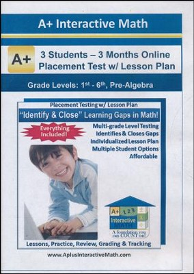 Math Adaptive Placement Test with Individualized Lesson Plan  for 3 Students, 3 Months Subscription (Grades K1 through  Pre-Algebra)  -