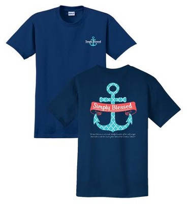 Anchor, Simply Blessed, Shirt, Navy, X-Large  -