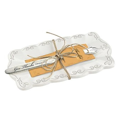 Thankful Butter Dish and Knife  -