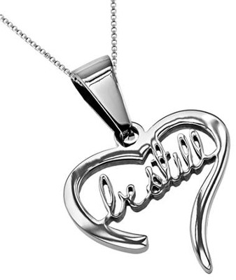Be Still Handwriting Heart Necklace   -