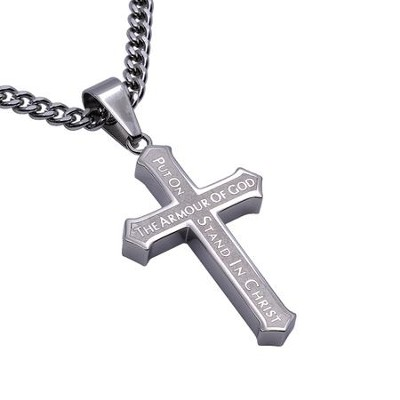 Armor of God Inlay Cross Necklace  -