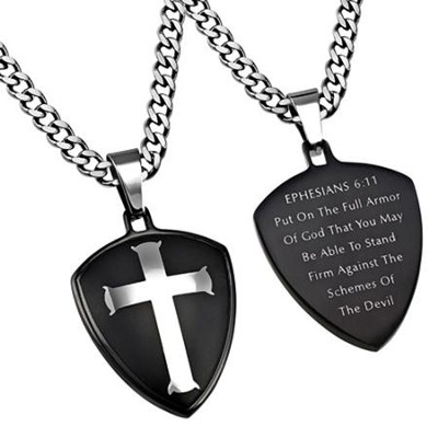 Armor of God Shield Cross Necklace, Black  -