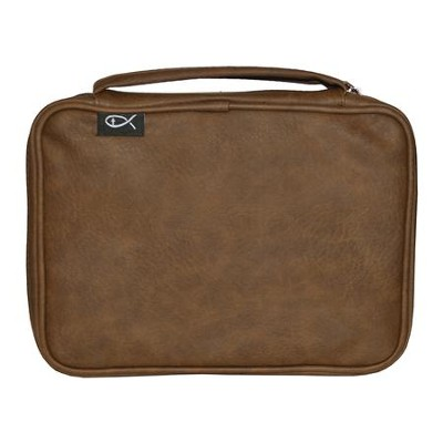 Deluxe Bible Cover, Brown, Compact  -