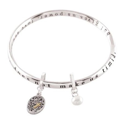 2 Timothy 1:7 Mobius Bracelet with Cross and Pearl Charm  -